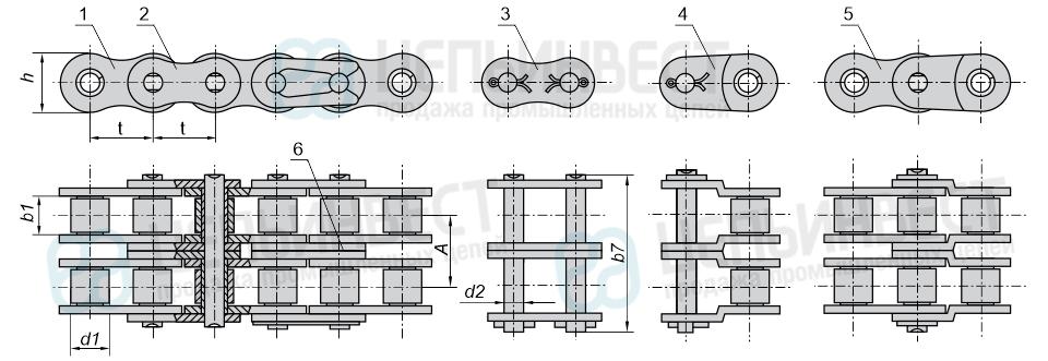 Цепи приводные роликовые двухрядные ГОСТ 13568-97 (2ПР)