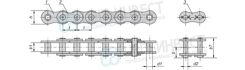 Цепи приводные втулочные однорядные ГОСТ 13568-97 (ПВ)