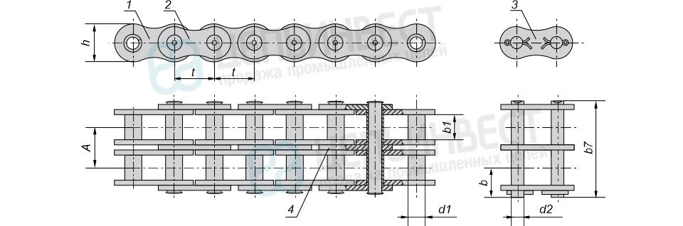 Цепи приводные втулочные двухрядные ГОСТ 13568-97 (2ПВ)
