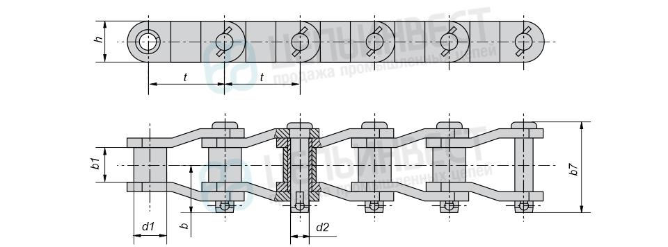 Цепи приводные роликовые с изогнутыми пластинами (ПРИ)