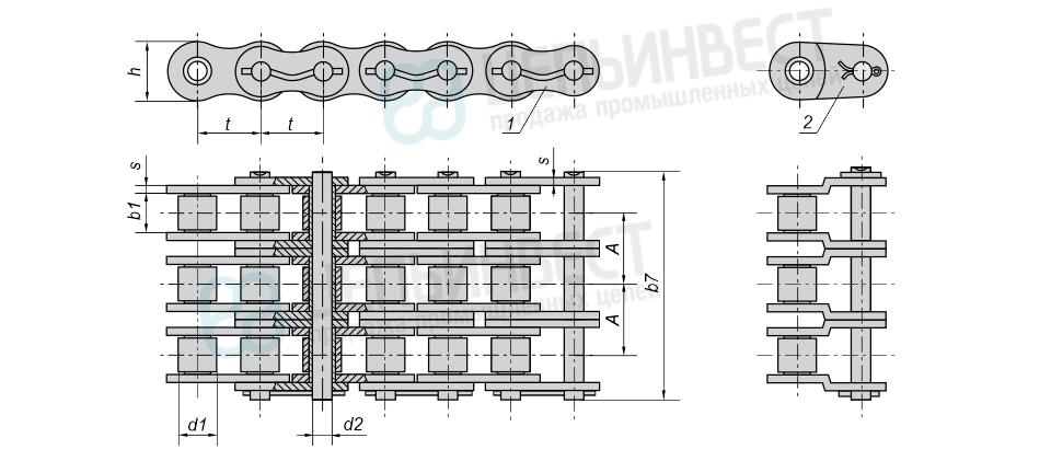 Цепи приводные роликовые повышенной точности и прочности (нефтяные) трехрядныеГОСТ 21834-87