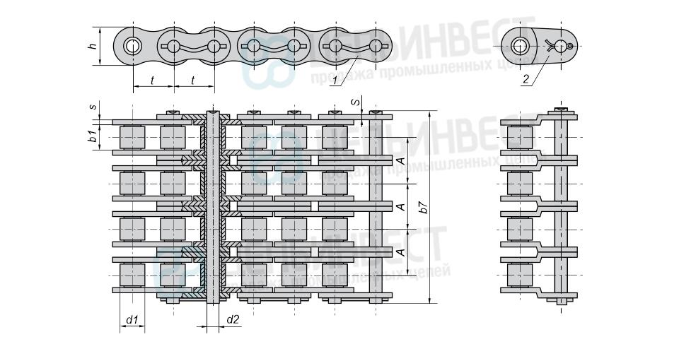 Цепи приводные роликовые повышенной точности и прочности (нефтяные) четырехрядные ГОСТ 21834-87