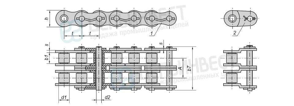 Цепи приводные роликовые повышенной точности и прочности (нефтяные) двухрядные ГОСТ 21834-87