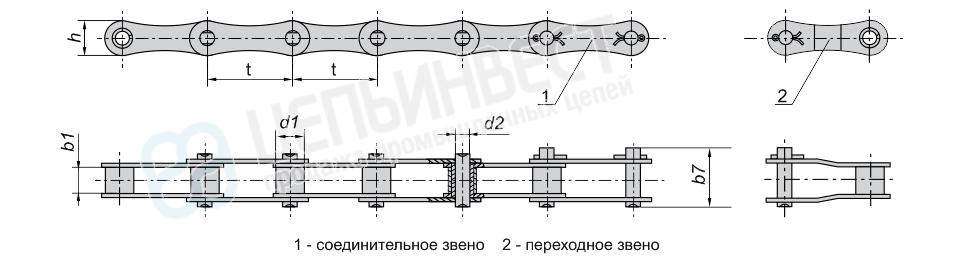 Цепи приводные роликовые длиннозвенные ГОСТ 13568-75 (ПРД)