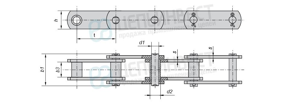 Цепи тяговые пластинчатые втулочные тип 1 (М, МС) неразборная