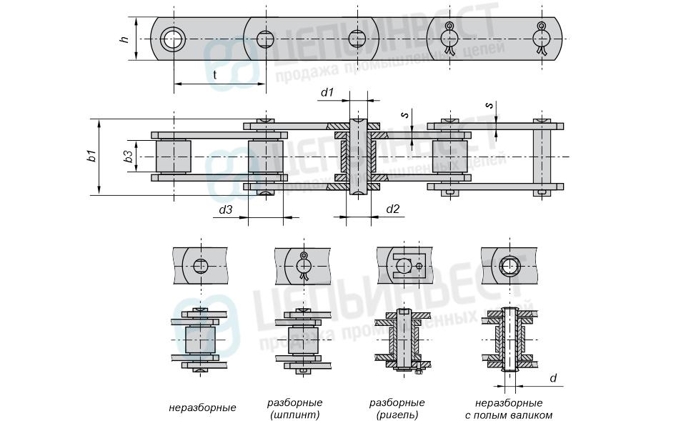 Цепи тяговые пластинчатые роликовые М, МС (Тип 2) ГОСТ 588-81