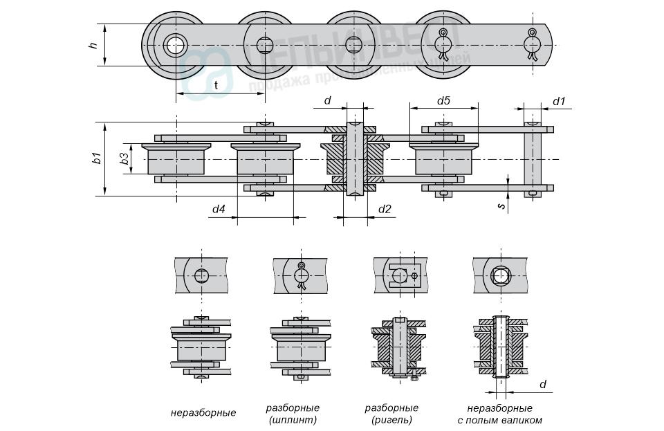 Цепи тяговые пластинчатые катковые с ребордами на катках М, МС (Тип 4) ГОСТ 588-81