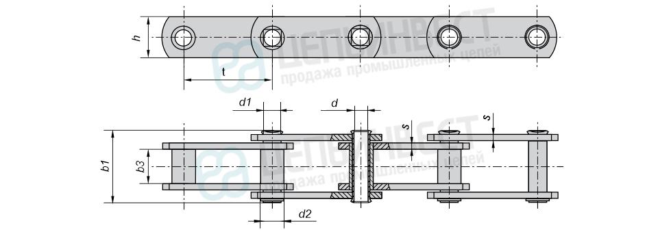 Цепи тяговые пластинчатые втулочные тип 1 (М, МС) неразборные с полым валиком