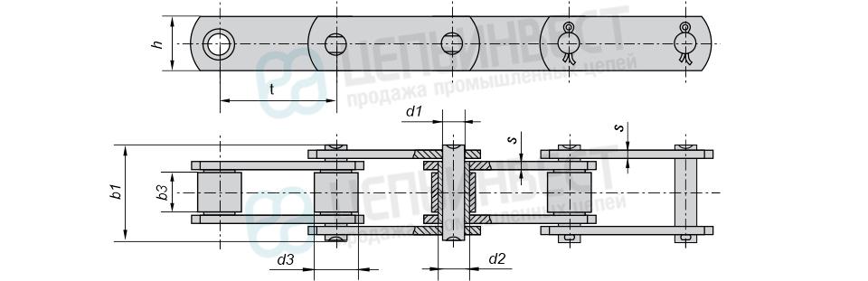 Цепи тяговые пластинчатые роликовые М, МС (Тип 2) ГОСТ 588-81 неразборные