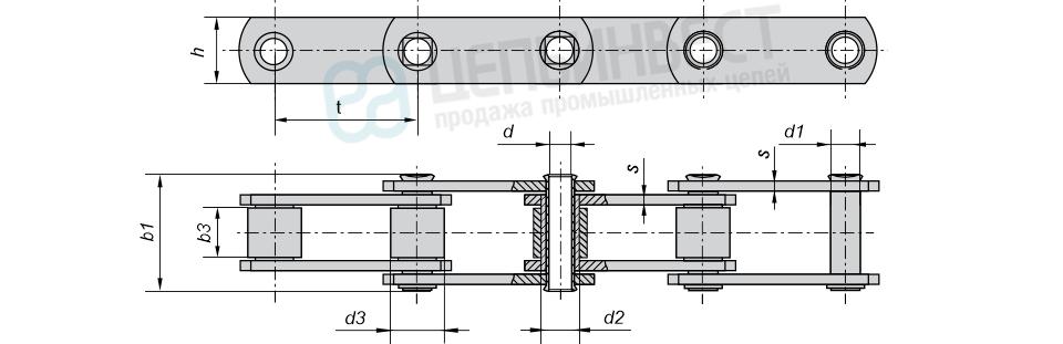 Цепи тяговые пластинчатые роликовые тип 2 (М, МС)  неразборные с полым валиком ГОСТ 588-81