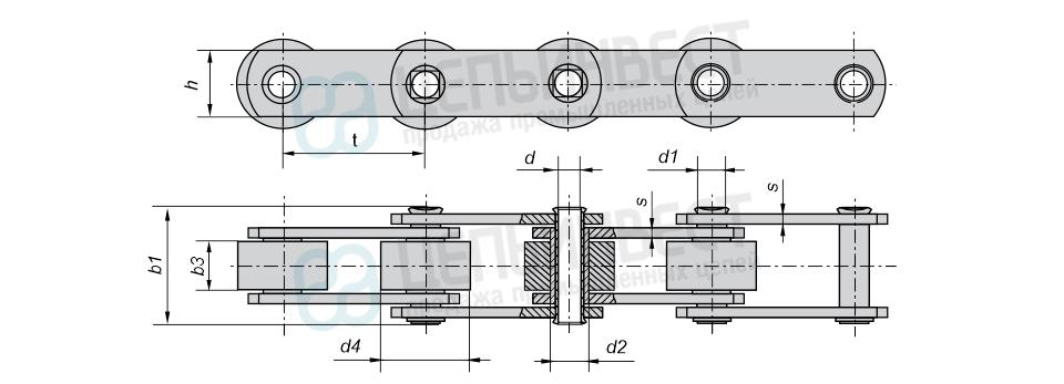 Цепи тяговые пластинчатые катковые с гладкими катками с подшипниками скольжения М, МС (Тип 3) ГОСТ 588-81 с полым валиком