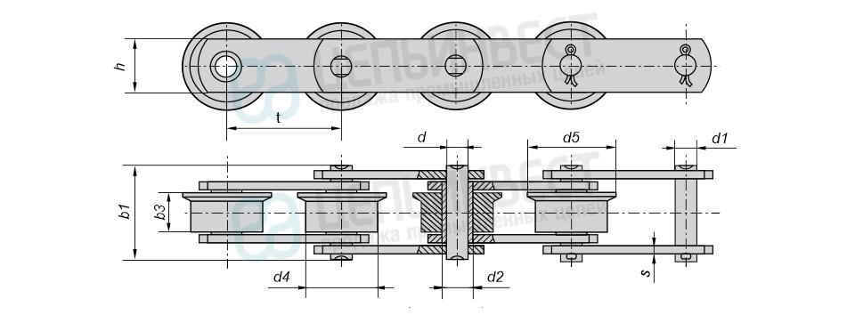 Цепи тяговые пластинчатые катковые с ребордами на катках М (Тип 4)