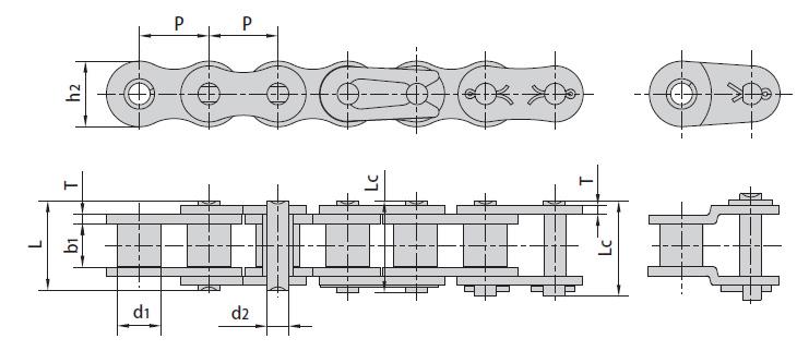 Цепи ISO 606-94, DIN 8188-1 однорядные серии А