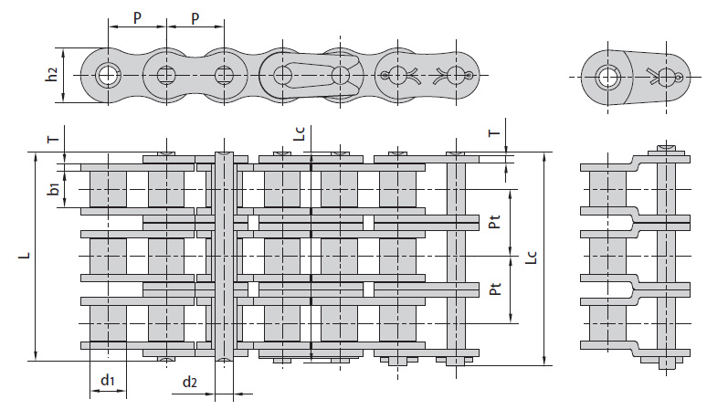 Цепи ISO 606-94, DIN 8188-1 трехрядные серии А. Схема