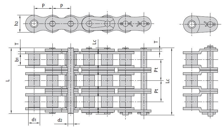 Цепи трёхрядные ANSI B29.1M