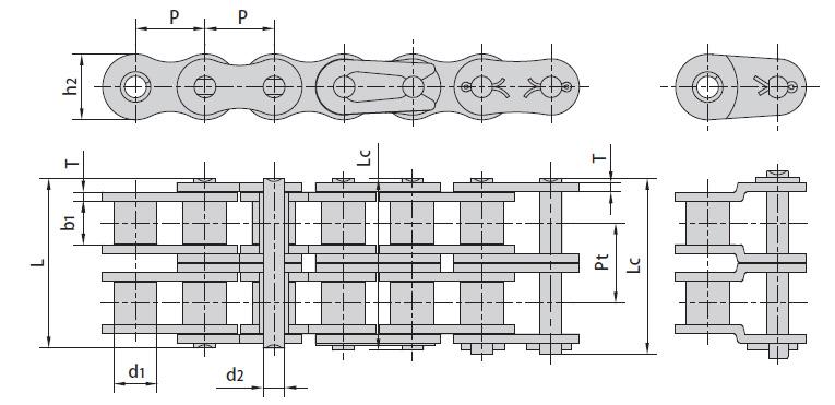 Цепи ISO 606-94, DIN 8188-1 двухрядные серии А