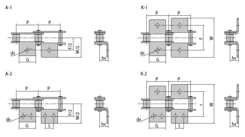Конвейерные (двухшаговые) цепи с прикреплениями
