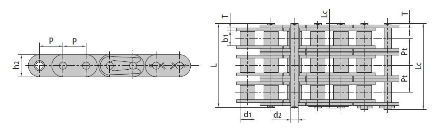 Роликовые цепи с прямым контуром пластин (A Series)