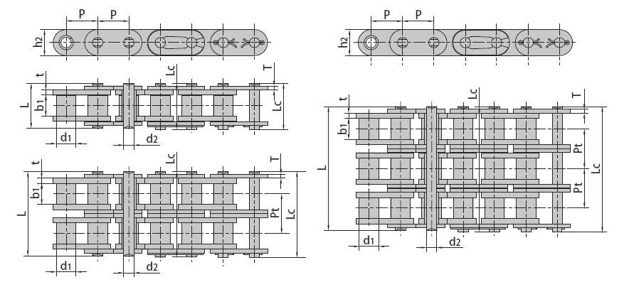 Роликовые цепи с прямым контуром пластин (B Series)