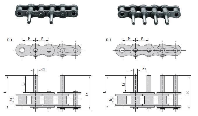 Роликовые цепи с выступающими (удлинёнными) валиками