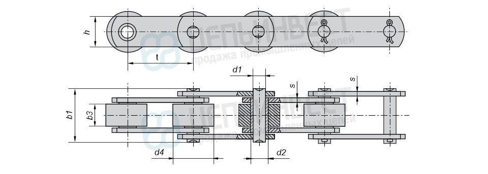 Цепи тяговые пластинчатые катковые с гладкими катками с подшипниками скольжения М, МС (Тип 3) ГОСТ 588-81
