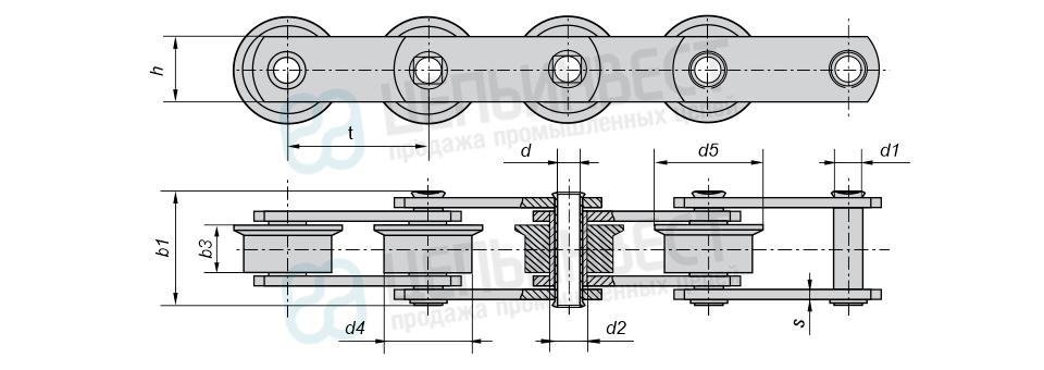Цепи тяговые пластинчатые катковые с ребордами на катках МС (Тип 4)