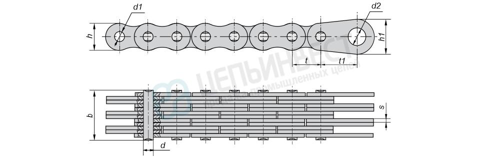 Цепи грузовые пластинчатые с закрытыми валиками с концевыми пластинами на одном конце отрезка цепи (Тип 2)