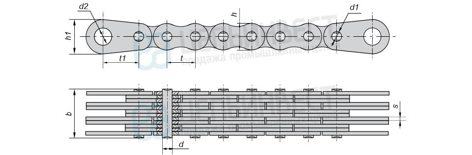 Цепи грузовые пластинчатые с закрытыми валиками с концевыми пластинами на обоих концах отрезка цепи (Тип 4)