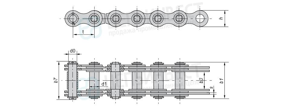 Цепи грузовые пластинчатые с соединительным валиком на одном конце отрезка цепи (Тип 1)