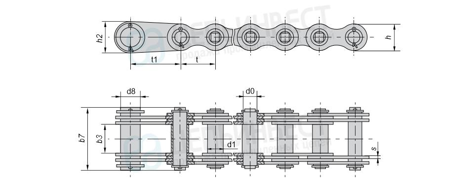Цепи грузовые пластинчатые с соединительным валиком на одном конце, концевыми пластинами и концевым валиком на другом конце отрезка цепи (Тип 3).