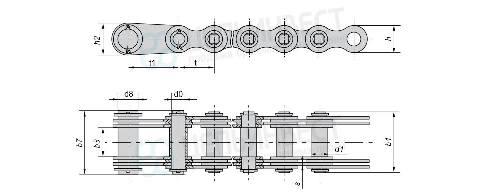 Цепи грузовые пластинчатые с концевыми пластинами и концевым валиком на одном конце отрезка цепи (Тип 5)