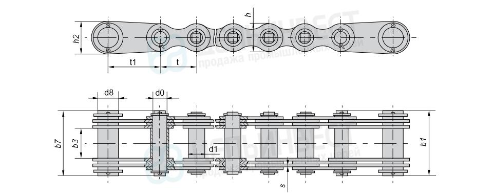 Цепи грузовые пластинчатые с концевыми пластинами и концевым валиком на обоих концах отрезка цепи (Тип 6)