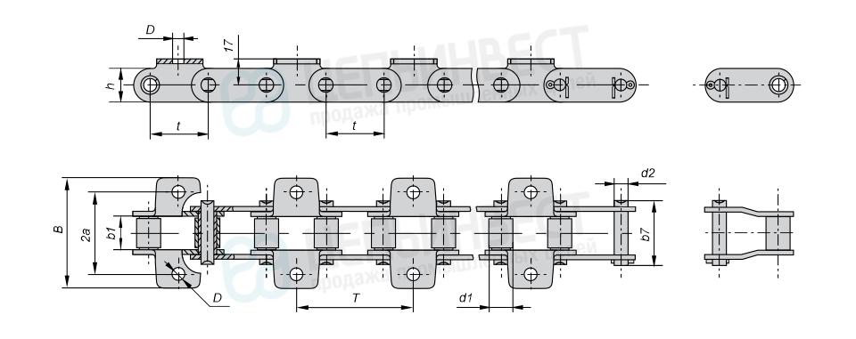 Цепи транспортерные длиннозвенные ГОСТ 4267-78 (Тип 1, Исполнение 2)