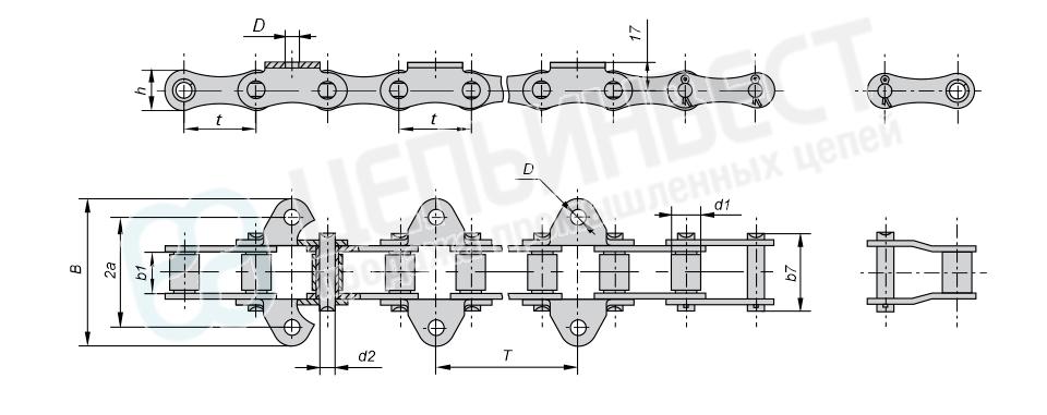 Цепи транспортерные длиннозвенные ГОСТ 4267-78 (Тип 1, Исполнение 1)