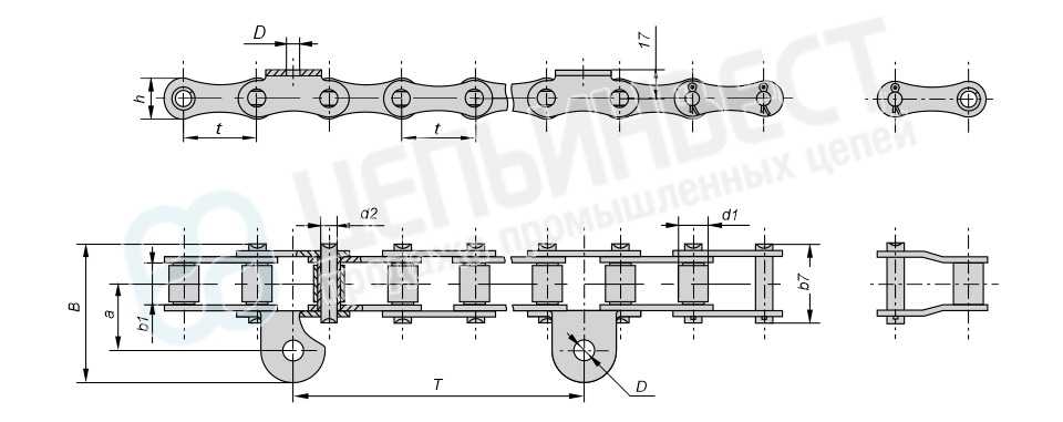 Цепи транспортерные длиннозвенные ГОСТ 4267-78 (Тип 3)