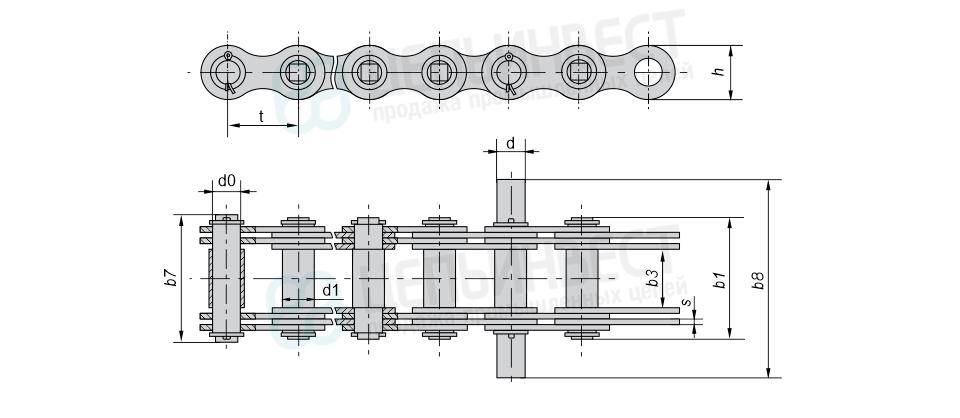 Цепи грузовые пластинчатые с соединительным валиком на одном конце отрезка цепи и удлиненными валиками (Тип 2)
