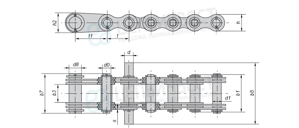 Цепи грузовые пластинчатые с соединительным валиком на одном конце, концевыми пластинами и концевым валиком на другом конце отрезка цепи и удлиненными валиками (Тип 4).