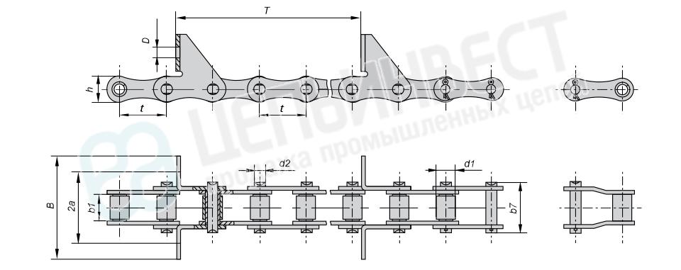 Цепи транспортерные длиннозвенные ГОСТ 4267-78 (Тип 2, Исполнение 1)