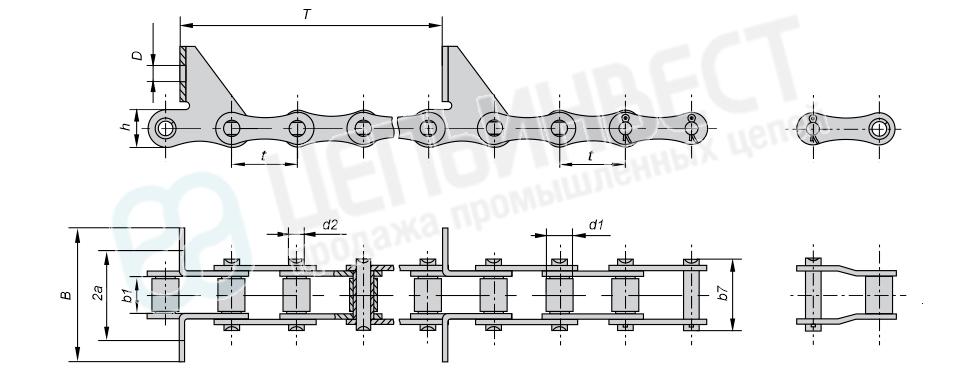 Цепи транспортерные длиннозвенные ГОСТ 4267-78 (Тип 2, Исполнение 2)
