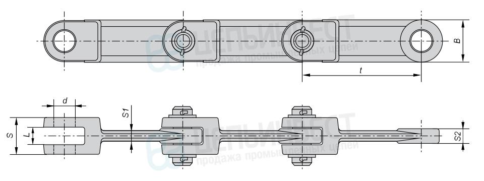 Цепи тяговые вильчатые Р1 ГОСТ 12996-90