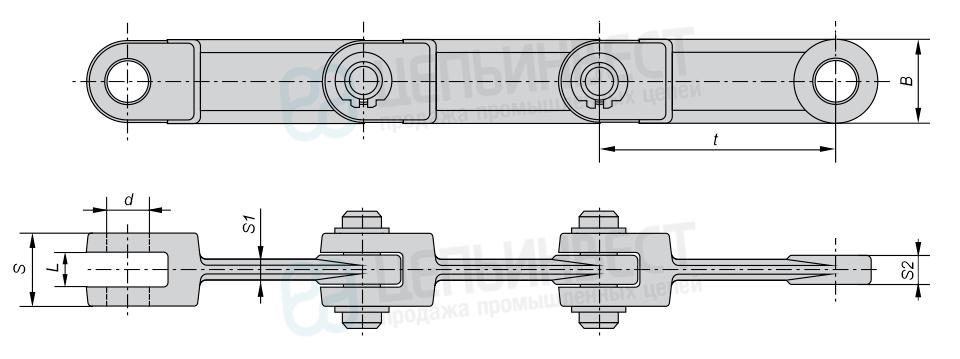 Цепи тяговые вильчатые Р2 ГОСТ 12996-90