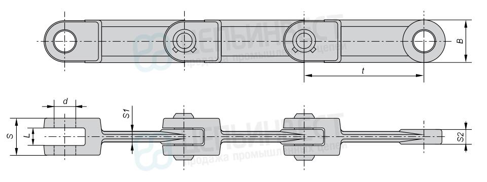 Цепи тяговые вильчатые Р3 ГОСТ 12996-90