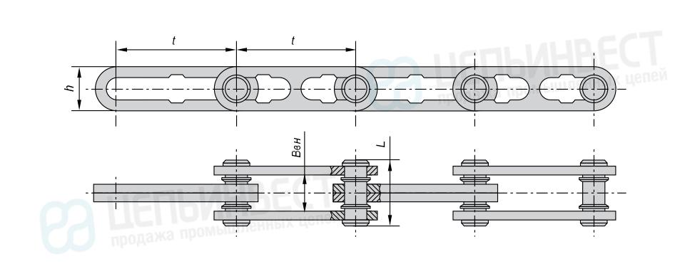 Цепи тяговые разборные с вращающимися валиками (Р1) ГОСТ 589-85