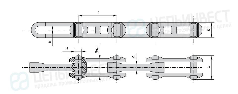 Цепи тяговые разборные с фиксированными валиками (Р2) ГОСТ 589-85