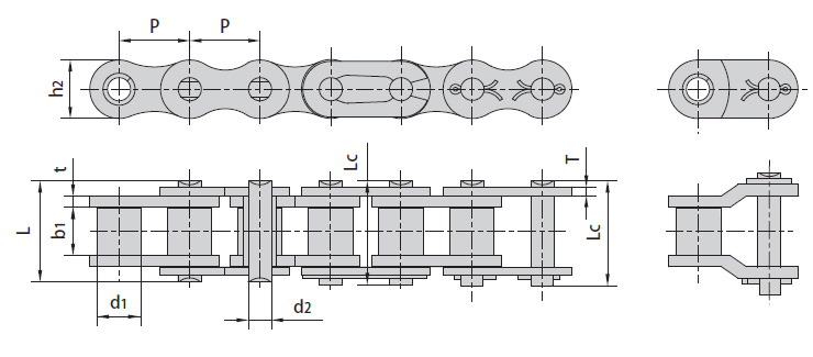 Цепи ISO 606-94, DIN 8187-1 однорядные серии B. Схема