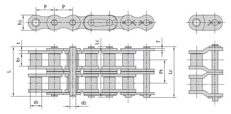 Цепи приводные роликовые ISO 606-94, DIN 8187-1 (B Серия) двухрядные. Схема